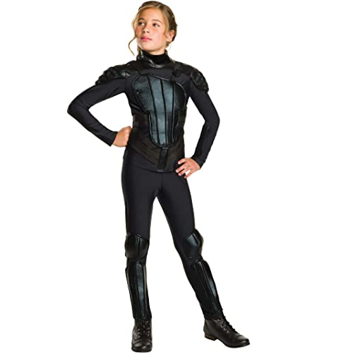 KIDS KATNISS THE HUNGER GAMES MOCKINGJAY 2 GIRLS COSTUME JUMPSUIT PADS 3-7 YRS