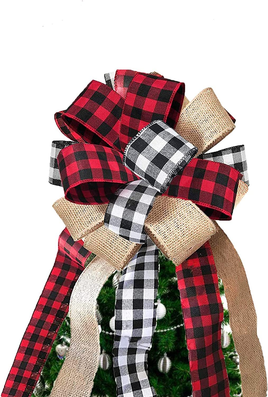 KSPOWWIN Christmas Tree Topper Buffalo Decorative unisex Hand Plaid Bow shop