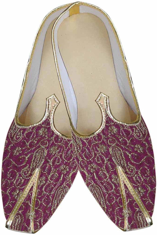 INMONARCH Mens Wine Brocade Designer shoes Jutti MJ0009