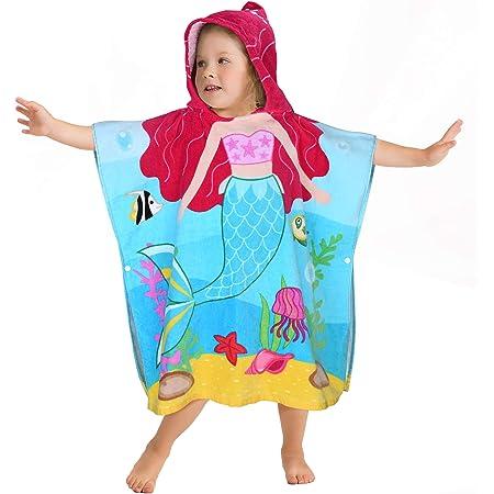 バスタオル 子供 フード付きタオル プールタオル 赤ちゃん バスポンチョ 綿 吸水性 2~6歳 女の子 かわいい 人魚姫 ベビー バスローブ スイミング お風呂 温泉 ビーチタオル ご出産祝い お誕生日 贈り物 プレゼント(59X66cm)