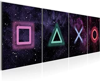 Bilder Set mehrteilig Spielkonsole Wandbilder Wohnzimmer XXL Schwarz Modern 0238a