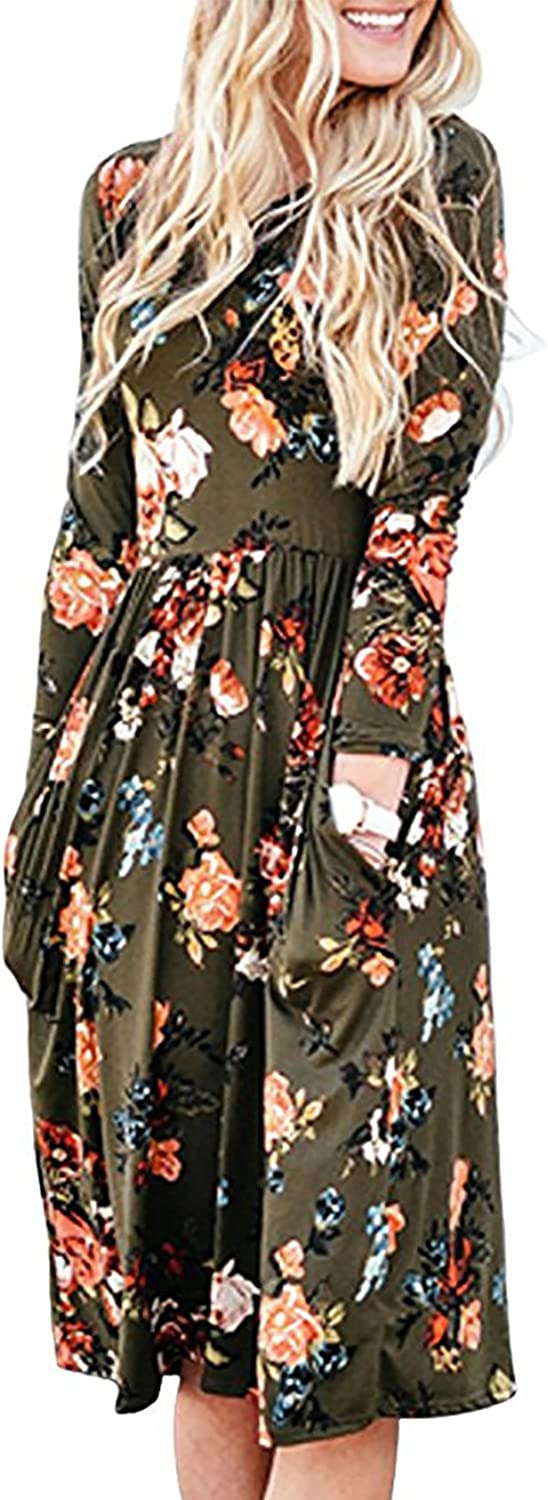 Sunerlory Women's Long Sleeve Swing Pleated Floral Tshirt Dress with Pockets