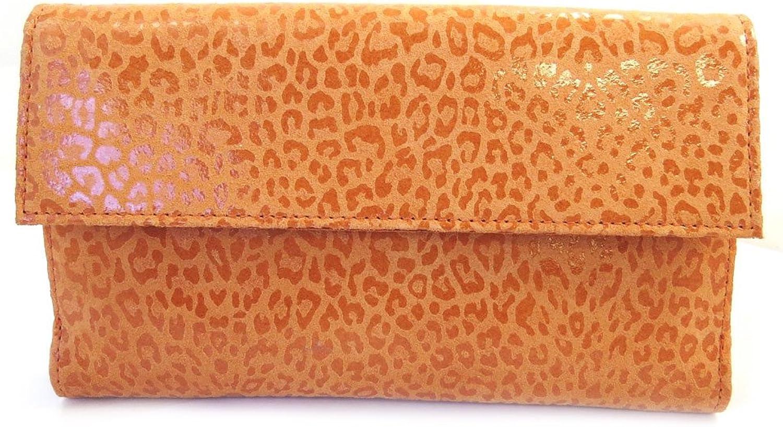 Leather wallet + checkbook holder 'Frandi' orange (leopard).