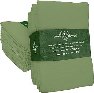 """Linen and Towel Linge et Serviette, Serviettes en Tissu, 100% Coton Naturel filé à l'anneau, qté 12, 18""""x 18"""" Vert, Servie..."""