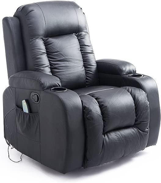 HOMCOM Massage Recliner Chair Heated Vibrating PU Leather Ergonomic Lounge 360 Degree Swivel With Remote Black
