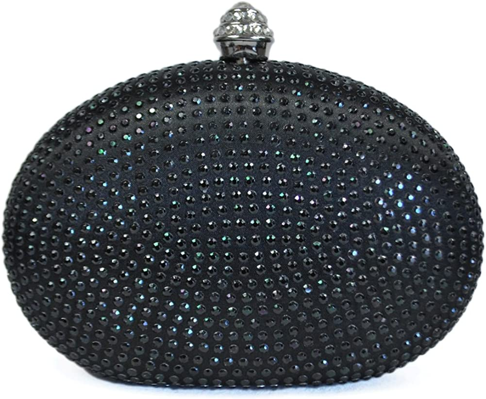 Chicastic Glitter Metallic One Ring Clutch Evening Purse With Rhinestones
