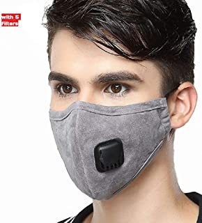 Pollution Mask Anti PM 2.5 Pollen N95 Dust Mask Washable Anti-fog Anti Dust Mask Antibacterial Activated Carbon Filter Earloop Mouth Mask with 5 Filters (Gray)