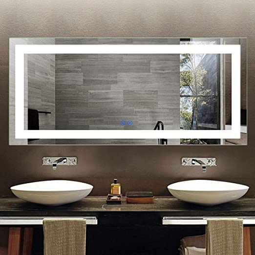 Amazon Com Dimmable Led Bathroom Mirror 70 X 32 In Horizontal Vertical Anti Fog Wall Mounted Makeup Mirror With Led Light Over Vanity Illuminated Wall Mirror With Smart Touch Switch Ct02 7032 Home Kitchen