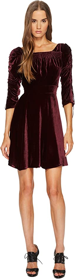 Velvet Dress with Pleated Sleeves