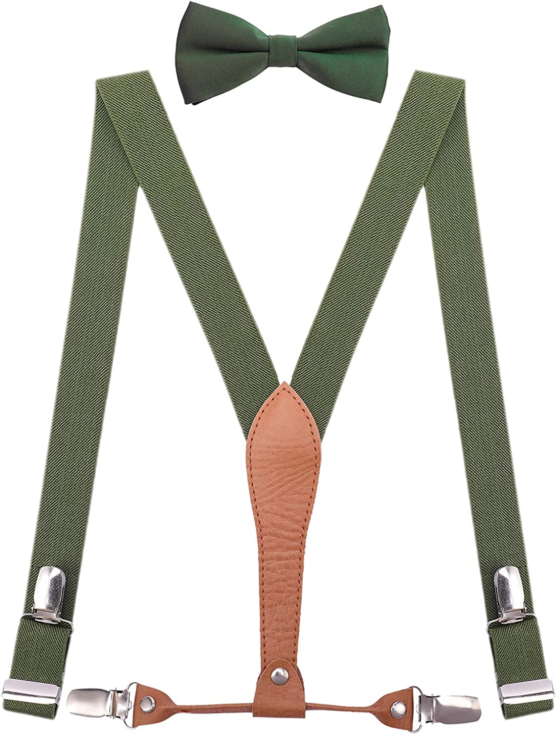 WDSKY Mens Boys Suspenders and Bow Tie Elastic with Leather Y-Back
