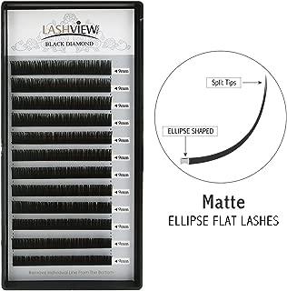 LASHVIEW Matte Black Ellipse Eyelash Extensions C Curl .15mm 9mm Individual Semipermanent Extremely Soft Application-friendly Silk Mink Eyelash Extension for Professional Salon Use