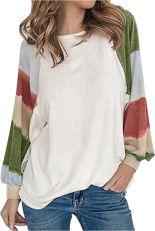 XNXX Womens Tunic Blouse Top Long Sleeve Crewneck Color Block Sweatshirts Pullover Plus Size Stripe Printed Tee Shirts