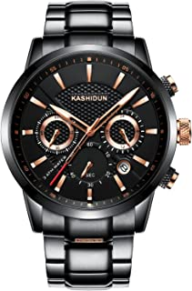 KASHIDUN Men's Watches Luxury Sports Casual Quartz Wristwatches Waterproof Chronograph Calendar Date Stainless Steel Band Black Color (A Black)