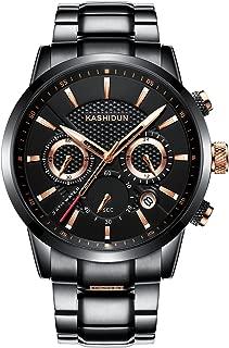 KASHIDUN Men's Watches Luxury Sports Casual Quartz Wristwatches Waterproof Chronograph Calendar Date Stainless Steel Band Black Color
