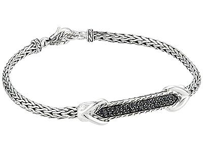 John Hardy Asli Classic Chain Link Silver 3.5 mm Slim Chain Station ID Bracelet (Black Sapphire) Bracelet