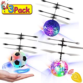 3 Pack Kids Flying Ball Toys, RC Flying Ball Hand Operated Infrared Induction Helicopter Mini Drones Rechargeable Light Up Toy with Remote Controller Indoor Outdoor Games for Boys Girls Gifts