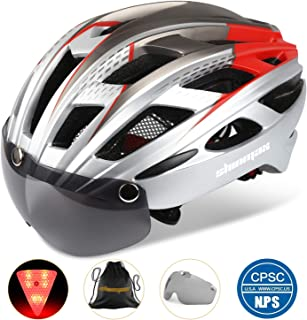 Basecamp Bike Helmet, Bicycle Helmet CPSC Certified Cycling/Climbing Helmet BC-069 with Detachable Magnetic Goggles Visor&LED Back Light&Portable Backpack Adjustable for Men/Women Mountain