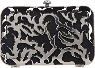 Bonjanvye Velvet Metal Hollow Design Evening Bag and Clutches for Women