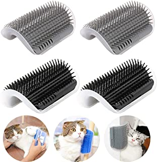 IMISNO 4 Pack Cat Self Groomer with Catnip Pouch,Cats Corner Massage Comb Grooming Brush Tool for Kitten Puppy (2 Black/2 Grey)