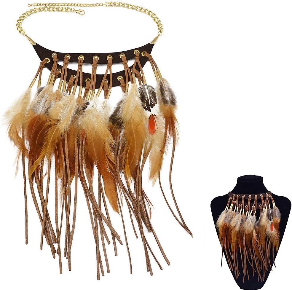 Jurxy Feather Tassel Pendant Choker Aboriginal Exaggerated Retro False Collar Leather Charm Necklace Bib Sweater Accessories – Brown