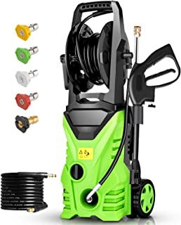 Homdox 2850 PSI Electric Pressure Washer, High Pressure Washer, Professional Washer Cleaner Machine with 5 Interchangeable Nozzles, 1800W,1.70 GPM,Hose with Reel(Green)