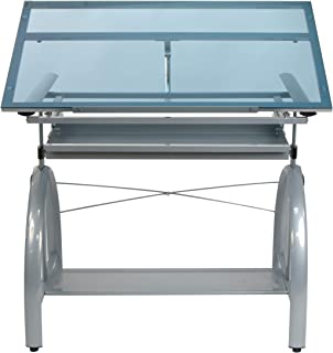 SD STUDIO DESIGNS 10060 Avanta Glass Top Adjustable Drafting Craft Drawing Hobby Table Writing Studio Desk with Drawers, 42'' W x 24'' D, Black/Clear