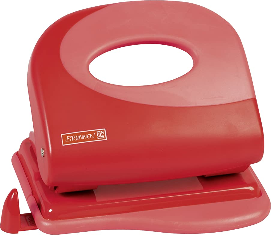 Brunnen 102062723 Colour Code Hole Punch with Removable Paper Guide for Punching up to 20?Sheets Red