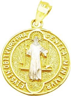 US-Shopsmart 10k Two Tone Gold Medalla De San Benito Saint St Benedict Pendant Charm