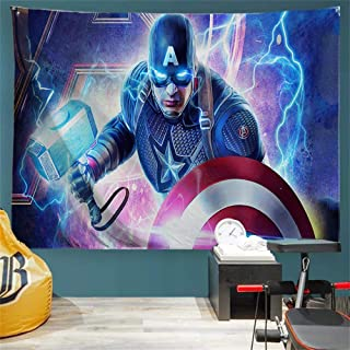 Baccessor Marvel Superhero Tapestry The Avengers Captain America Holding Shield and Hammer Galaxy Space Classic Movie Character Tapestry for Boy's, Kid's Bedroom, 90