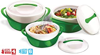 Pinnacle Insulated Casserole Dish with Lid 3 pc. set 2.6/1.25/.6 qt. Elegant Hot Pot Food Warmer/Cooler - Large Thermal Soup/Salad Serving Bowl- Stainless Steel –Best Gift Set for Moms –Holidays Green