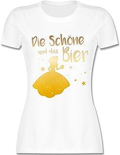 Typisch Frauen - Die Schöne und das Bier - Damen Tshirt und Frauen T-Shirt