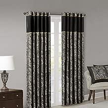 Madison Park Aubrey Jacquard Room-Darkening Window Curtain 2 Blackout Panel Pair for Bedroom and Dormitory, 50x108, Black
