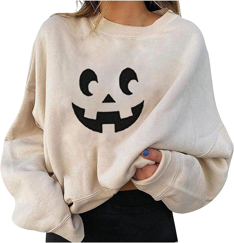 Halloween Women Shirt Cute Pumpkin Ghost Black Cat Bat Print Casual Sweatshirts Long Sleeve Crewneck Pullover Tops Sweaters