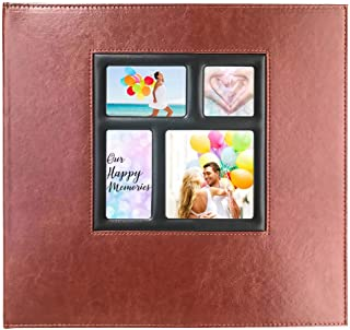 Photo Album 4x6 610 Photos – Page Refillable, Leather Picture Album with Display Window Holds 610 4x6 Photos for Wedding, Baby, Family, Graduation, Travel, Anniversary (Brown)