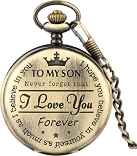 """Pocket Watch for Kids, Engraved Pocket Watch""""to My Son I Love You Forever"""" Bronze Pocket Watch, Personalized Son's Gift"""