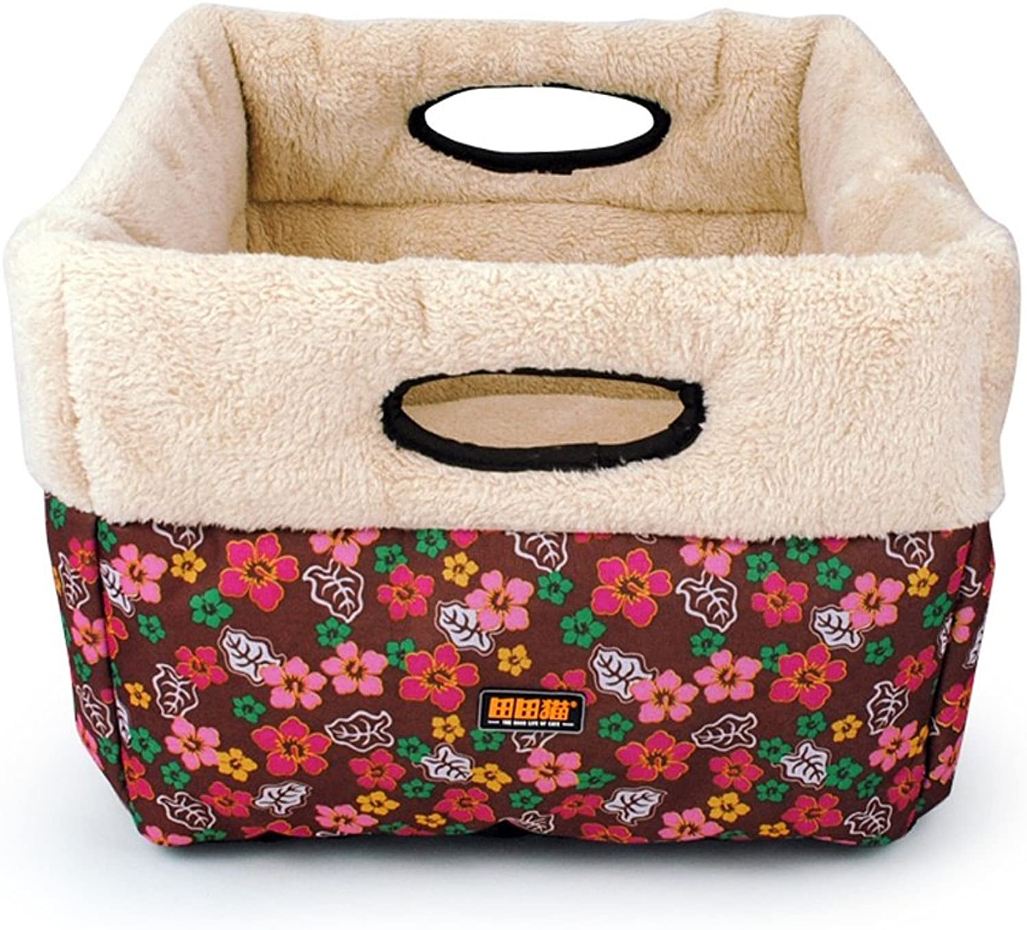 JUEJIDP Ethnic style floral canvas lamb cashmere square large size warm cat litter cat bed cat supplies