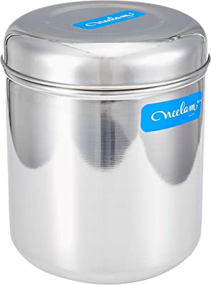 Neelam Stainless Steel 16 22G Russian Deep Dabba, 4600 ml, Silver