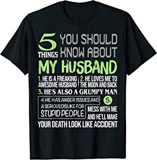 5 Things You Should Know About My Awesome Husband Tee Shirt
