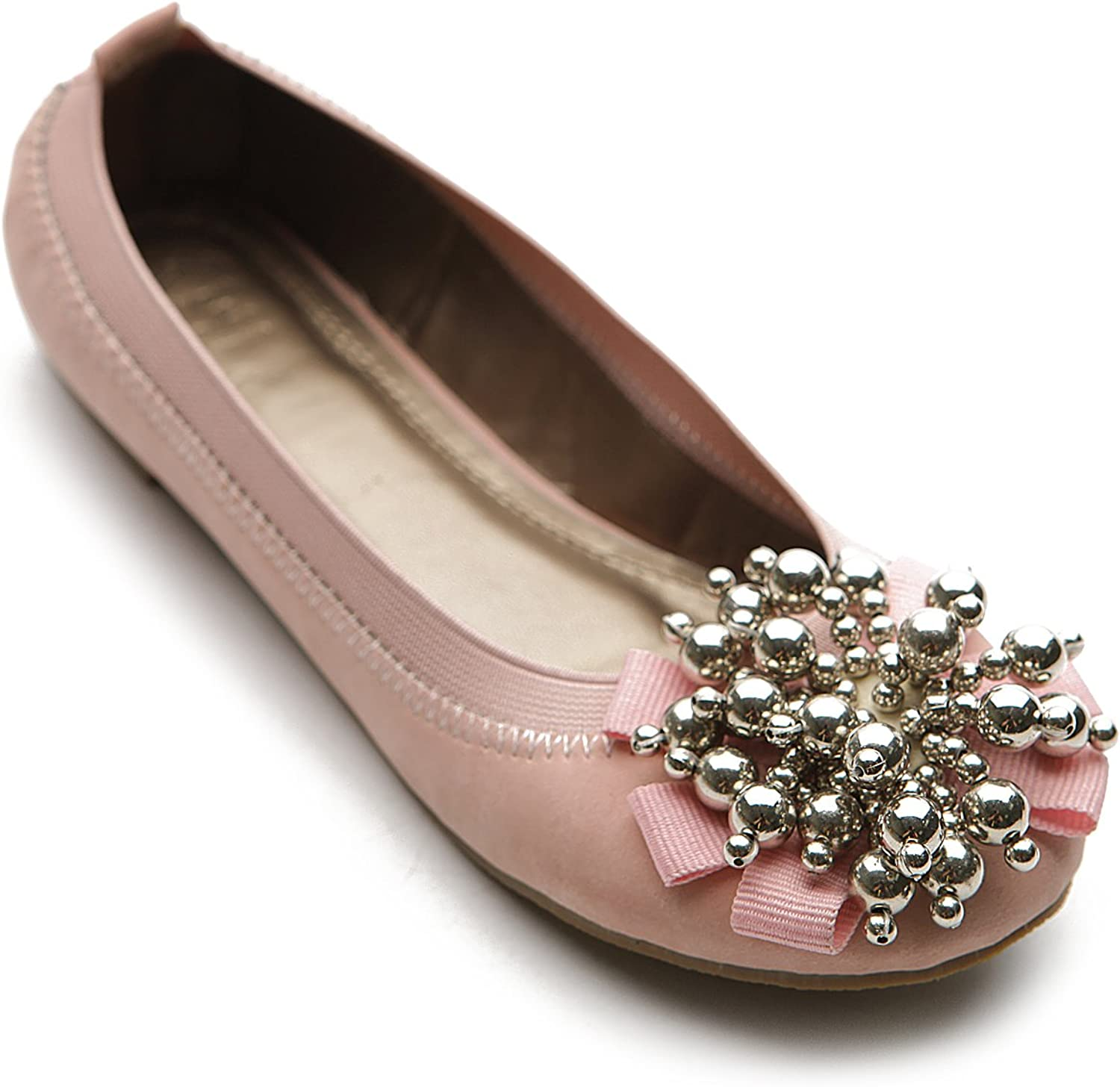 Ollio Women's Ballet shoes Soft Cute Silver Bead Accent Flats M1913 (10 B(M) US, Pink)