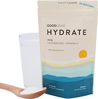 Sponsored Ad - GOODONYA Hydrate Organic Electrolyte + Mineral Powder, No Added Sugar, Pure Ingredients (Lemon, 20 Servings)