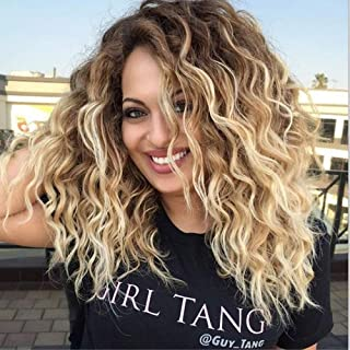 MILISI Ombre Blonde Wigs for Women Short Curly Wavy Fluffy Hair Wig Brown Roots Synthetic Full Wig Costume Daily Party Wig (Ombre Blonde) MLS052