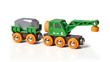 BRIO World - 33698 Clever Crane Wagon Set | 4 Piece Train Accessory and Crane Toy for Kids Ages 3 and Up