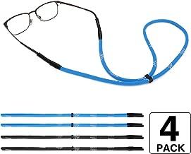 MoKo Adjustable Sunglasses Strap, [4 Pack] Universal Fit Rope Sports Glasses String Spectacles Cord, Unisex Sunglass Strap Safety Glasses Holder Lanyards for Men, Women - Black & Blue