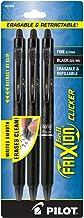 PILOT FriXion Clicker Erasable, Refillable & Retractable Gel Ink Pens, Fine Point, Black Ink, 3-Pack (31464)