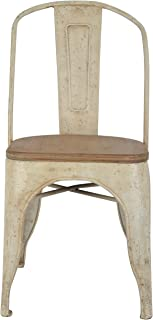 Décor Therapy Set of 2 Metal Chairs with Vintage Wood Seat, Distressed White and Washed Wood