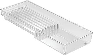 iDesign Cuchillero para cocina, pequeño organizador de cuchillos para cajón de plástico, separador de cajones para 8 cuchillos, transparente