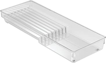 iDesign Linus Cutlery Tray for Knives, 8 Compartment Knife Organiser and Kitchen Accessories Tray, Made of Durable Plastic, Clear