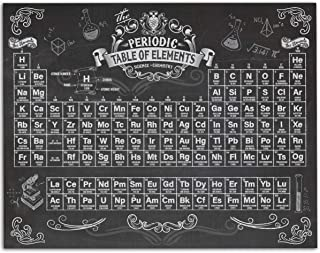 Periodic Table of Elements - Chalkboard Style - 11x14 Unframed Art Print - Great Gift for Scientists, Geeks or Classroom Decor, Also Makes a Great Gift Under $15