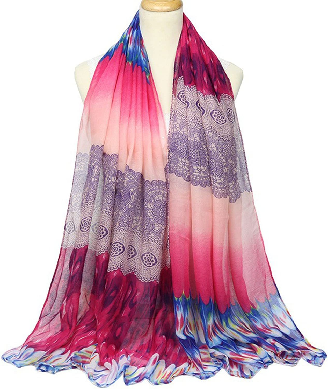 Woman Shawl Summer Silk Scarf Gradient color Long Lightweight Sunscreen Shawls For Women Decoration ( Style   3 )