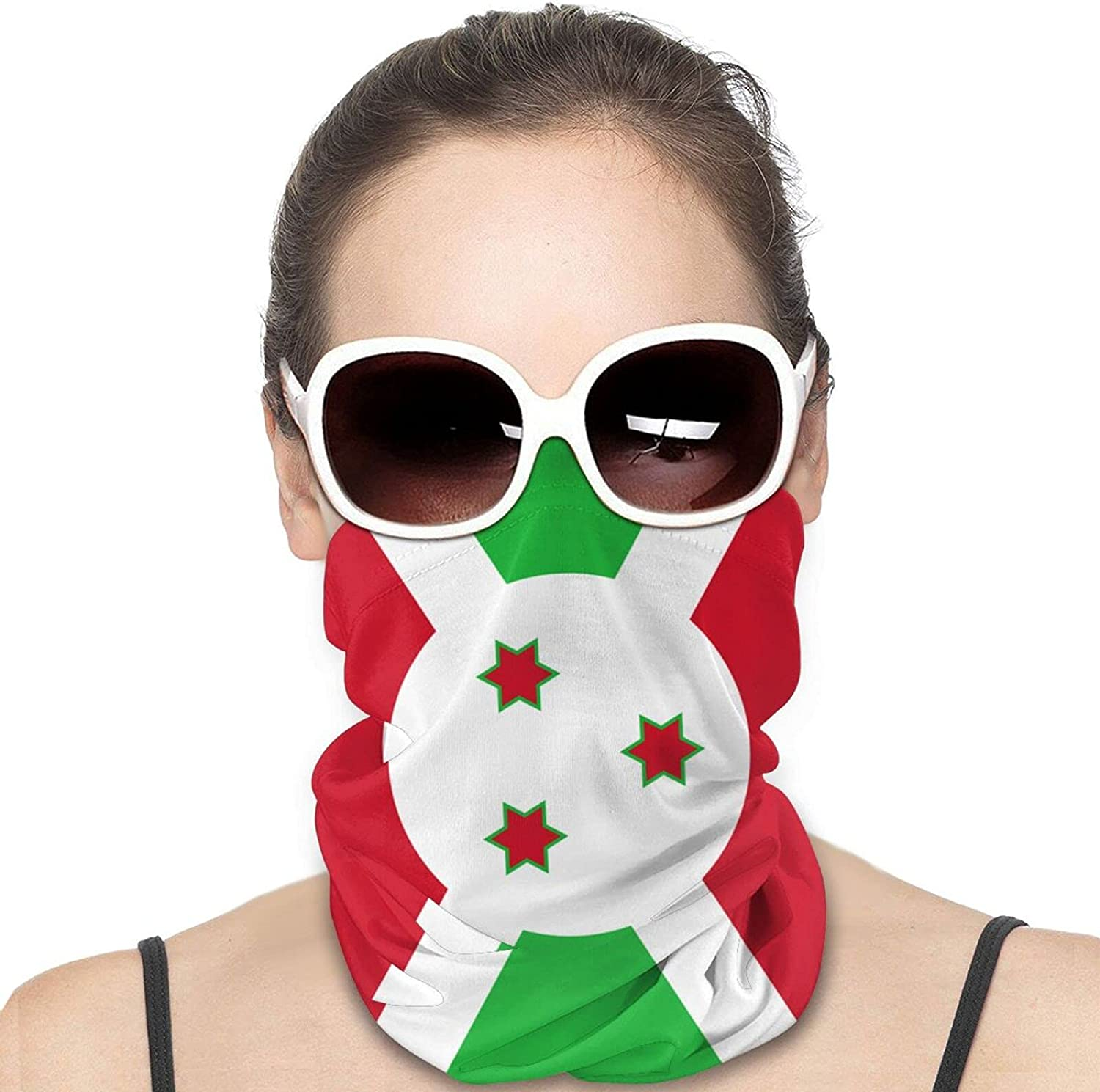 Burundi Flag Round Neck Gaiter Bandnas Face Cover Uv Protection Prevent bask in Ice Scarf Headbands Perfect for Motorcycle Cycling Running Festival Raves Outdoors